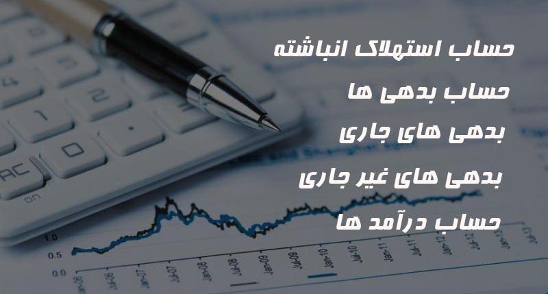 انواع حساب ها ارائه خدمات حسابداری