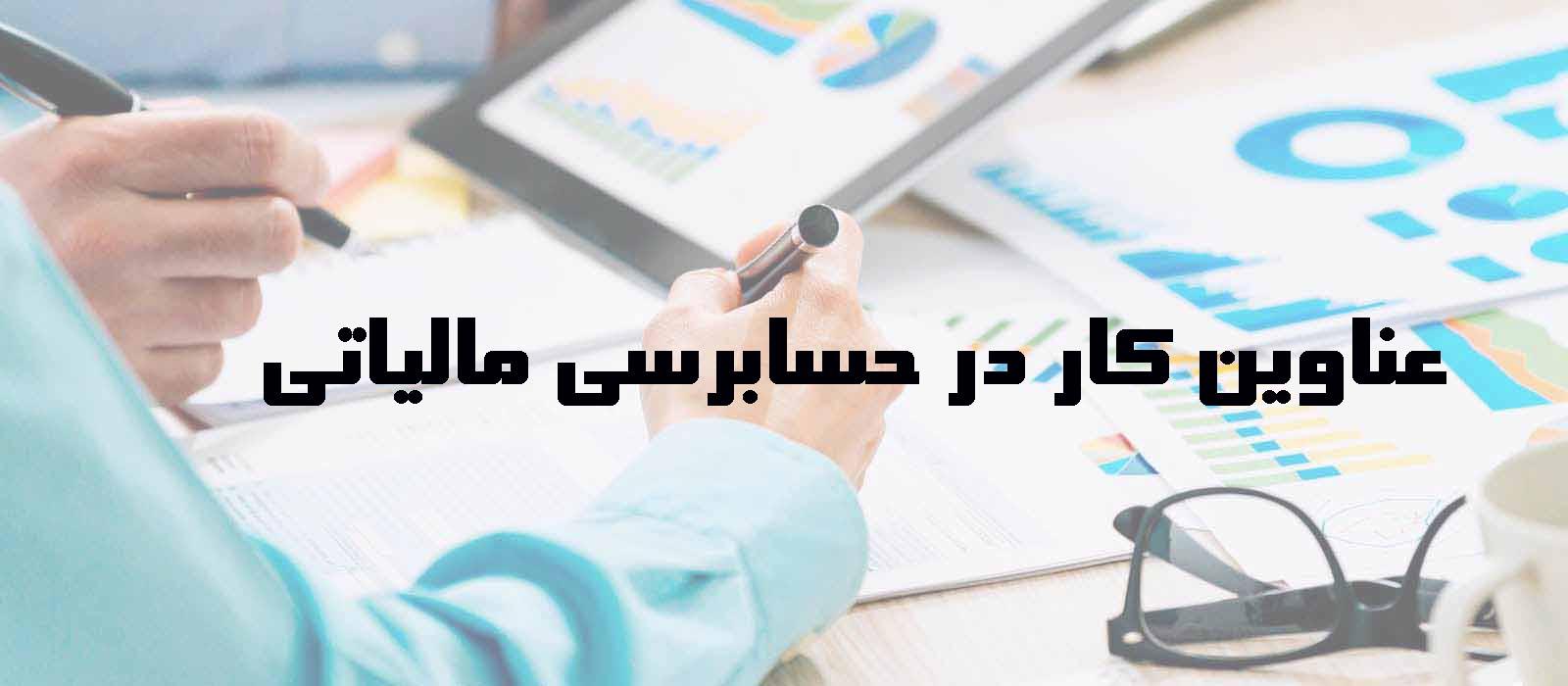 عناوین کار در حسابرسی مالیاتی